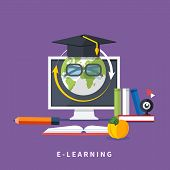 stock photo of online education  - Set icons for education - JPG
