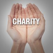 picture of word charity  - Image of two hands holding the word charity - JPG