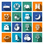 pic of sweet dreams  - Sleep time icons flat set with bedroom night sweet dreams isolated vector illustration - JPG