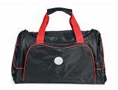 stock photo of heavy bag  - Black sports bag isolated - JPG