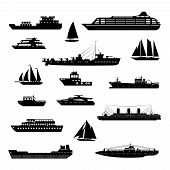 stock photo of passenger ship  - Ships and boats steamboat yacht and tanker freight industry decorative icons black and white set isolated vector illustration - JPG