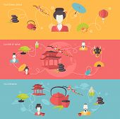 picture of geisha  - Japanese travel banner set with traditional geisha tea ceremony culture of japan isolated vector illustration - JPG