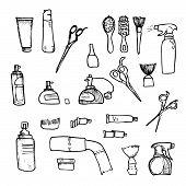 stock photo of hairspray  - Hand Drawn Illustration  - JPG