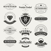 Retro Vintage Insignias Or Logotypes Set Vector Design Elements poster