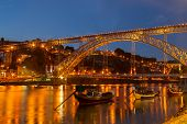 stock photo of dom  - bridge of Dom Luis I at night in old Porto Portugal - JPG