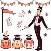 image of cylinder  - Set of magic performance elements the magician cylinder white rabbits and decorations - JPG