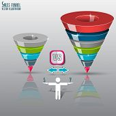 picture of 5s  - Sales funnel on a gray background 3D - JPG