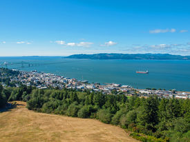 stock photo of coxcomb  - A View of Astoria Oregon from Coxcomb Hill the Location of the Astoria Column - JPG