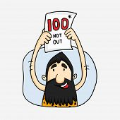 stock photo of caveman  - Cartoon of a caveman showing century with not out in Cricket match - JPG