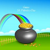 stock photo of pot gold  - Glossy pot full of gold coins with rainbow on nature view background for Happy St - JPG