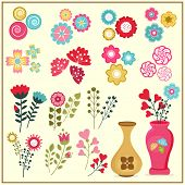 picture of vase flowers  - Colorful flower set of different varieties with vase - JPG