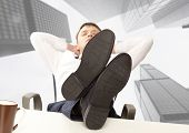 picture of recliner  - Businessman sleeping - JPG