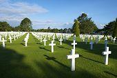 stock photo of cemetery  - White crosses in American Cemetery - JPG