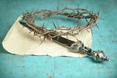 stock photo of thorns  - Crown of thorns and Roman sword on vintage paper  - JPG