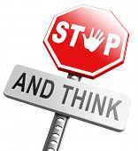 foto of start over  - stop think act making a wise decision safety first sleep it over and use your brain  - JPG