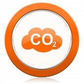 stock photo of carbon-dioxide  - carbon dioxide orange icon co2 sign  - JPG