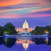picture of capitol building  - Capitol building sunset congress of USA Washington DC US - JPG