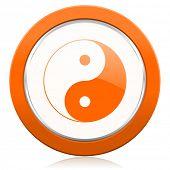 stock photo of ying-yang  - ying yang orange icon   - JPG