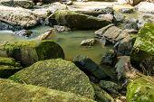 image of sagebrush  - Rock at the dry waterfall in summer - JPG