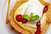 picture of ice-cake  - A slice of cake with jam ice cream - JPG