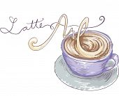 stock photo of latte  - Illustration of a Cup of Latte with the Words Latte Art Written Beside It - JPG