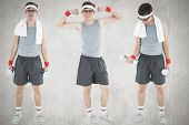 pic of nerds  - Nerd working out against white and grey background - JPG