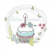 stock photo of cupcakes  - birthday cupcake invitation card - JPG
