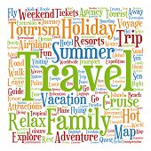 stock photo of text cloud  - Concept or conceptual colorful travel or tourism text word cloud tagcloud isolated on white background - JPG