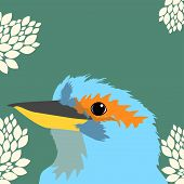 stock photo of leafy  - Illustration of a birds face on leafy background - JPG