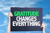 stock photo of humility  - Gratitude Changes Everything card with sky background - JPG
