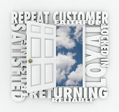 stock photo of clientele  - Repeat Customer words over an open door with words such as satisfied - JPG