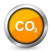 stock photo of carbon-dioxide  - carbon dioxide orange icon co2 sign  - JPG