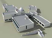 pic of school building  - Architecture 3d sketch of the school building with an observatory - JPG