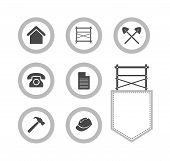 pic of scaffold  - Collection of Scaffolding round icons for web site Vector Illustrations isolated on white background - JPG