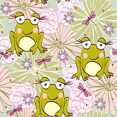 stock photo of baby frog  - Seamless pattern with cartoon frog in light colors - JPG