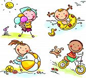 stock photo of tricycle  - Summer happy kids activities outdoors - JPG