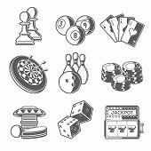 stock photo of indoor games  - Casino Sport and Leisure Games Icons  - JPG