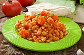 picture of stew  - Stewed white beans and sliced pumpkin in tomato sauce - JPG