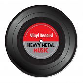 pic of heavy  - Isolated vinyl record colored in red and grey with the text heavy metal written on the record - JPG