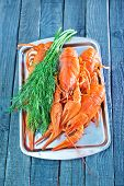 pic of creole  - boiled cancer on metal tray and on a table - JPG