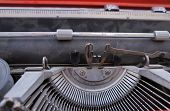 stock photo of hebrew  - Vintage dusty typewriter with Hebrew letters - JPG