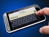 stock photo of antivirus  - Antivirus  on the Screen Touch Phone - JPG