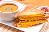 stock photo of chickpea  - grilled cheese sandwiches and tomato chickpea soup  - JPG