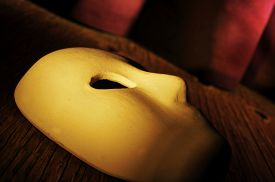 picture of curtains stage  - a classical theater mask on a stage with the theater curtain in the background - JPG