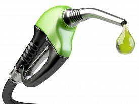 picture of fuel pump  - Green fuel pump nozzle with drop oil - JPG