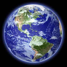 stock photo of globe  - Earth globe cloud map on a black background - JPG