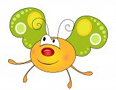 pic of mimicry  - Cute smiling yellow butterfly character isolated on white background - JPG