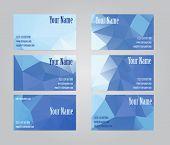 stock photo of visitation  - Set of six blue geometric visit cards - JPG