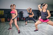 foto of boxing  - Group of people in a hard boxing training on fitness center - JPG