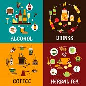 foto of alcoholic beverage  - Beverage icons in flat style with alcohol and non alcohol drinks - JPG
